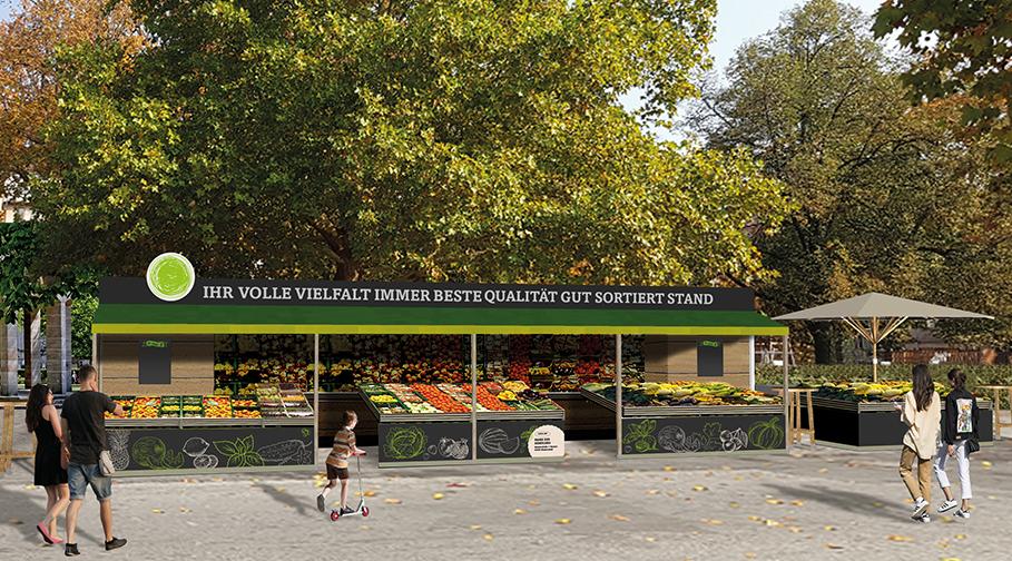 Obst und Gemüsestand am neuen Fürther Markt